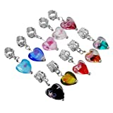 HooAMI 20pcs Mixed Glass Flower Heart Dangle Beads Fit Charm Bracelet 28x12mm (Color: Flower Heart)