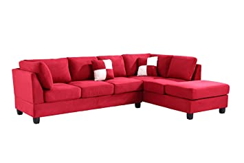 Glory Furniture G636-SC Sectional Sofa, Red, 2 boxes