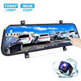 Bir Backup Camera Mirror Dash Cam Front&Rear View Lens for Cars,Taxi,Van and Truck Support Loop Recording Motion Detect and 24 Hours Parking Protection Hardwire Included (Tamaño: Hardwirekit Included)