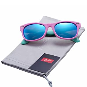 f4bd381872 Pro Acme TPEE Rubber Flexible Kids Polarized Wayfarer Sunglasses for Baby  and Children Age 3 -10 (Pink Frame Blue ...