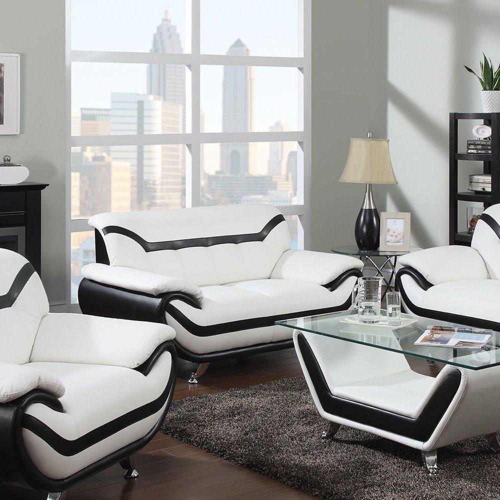 1PerfectChoice Rozene White Black Bonded Leather Loveseat