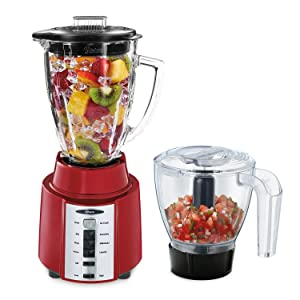 Oster Rapid Blend 8-Speed Blender with Glass Jar and Bonus 3-Cup Food Processor