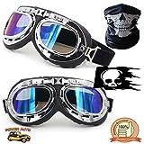 Vintage Motorcycle Goggles - Motocross Bike & Biker Steampunk Aviator Retro Eye Wear - Unisex Men & Women Riding Glasses - UV Sun Protection PLUS Skull Face Mask & Decal - Black/Revo Rainbow Lens (Color: Black Padding - Revo Rainbow Lens)