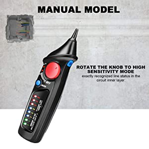 Voltage Tester, ToHayie Non-Contact Electrical Voltage Detector Pen AC 12V-1000V with LED Flashlight, Automatic & Manual Dual Mode Selection, Adjustable Sensitivity, Alarm Mode Live/Null Wire Judgment (Color: Black, Tamaño: Pocket Size)