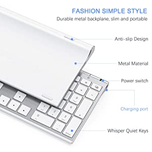Wireless Keyboard and Mouse, Vssoplor 2.4GHz Rechargeable Compact Quiet Full-Size Keyboard and Mouse Combowith Nano USB Receiver for Windows, Laptop, PC, Notebook-White and Silver (Color: White and Silver)