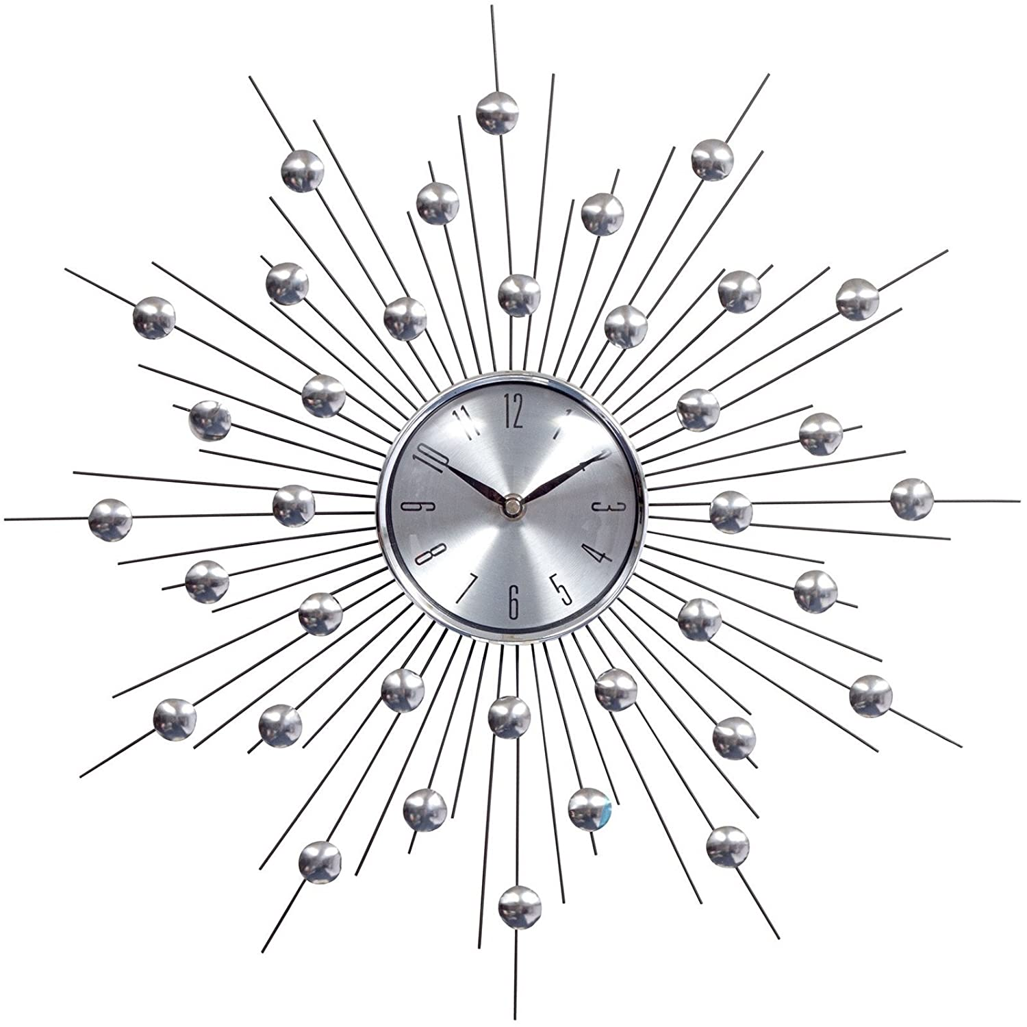 Starburst clocks webnuggetzcom for Silver wall clocks modern