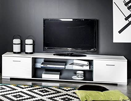 Mesa de TV color blanco con estante central en cristal 180cm