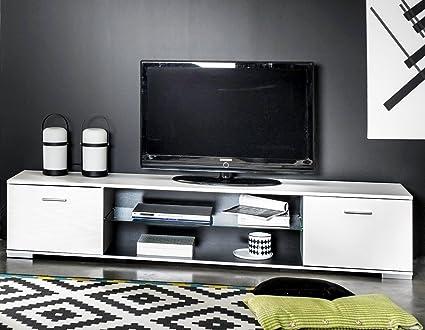 Mesa de TV color blanco con estante central en cristal 180cm