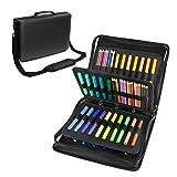 180 Colored Pencils Case / 140 Gel Pens Bag - YOUSHARES PU Leather Colored Pencil & Gel Pen Case with Zipper Holds - Artist use Supply School Large Capacity Professional Storage(Black) (Color: Black)