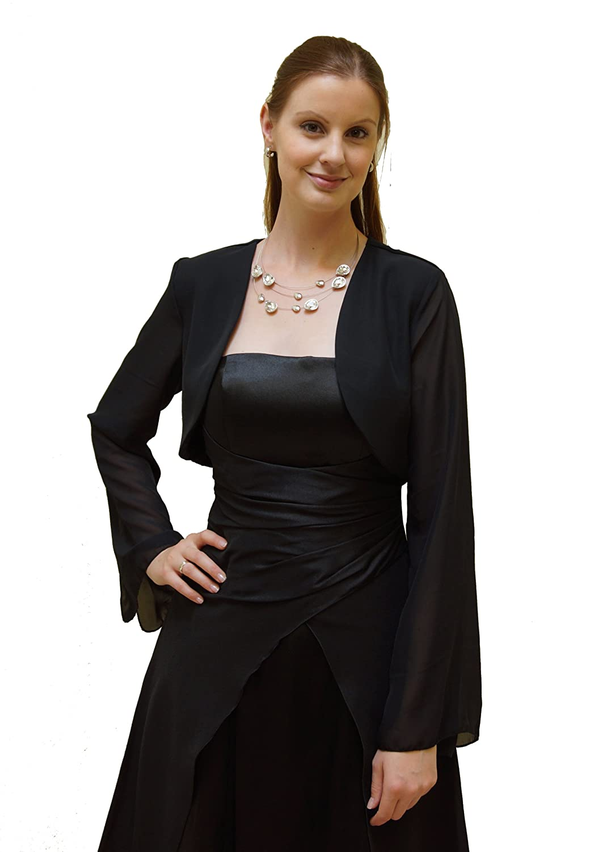 Chiffon-Bolero mit weitem Arm zum Cocktailkleid abgerundeter Kragen bestellen