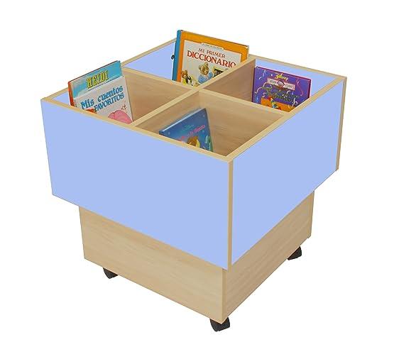 Mobeduc 602103HR14 libreria-Secchio per bambini, in legno, colore: faggio/azzurro lavanda, 60 x 60 x 60 cm