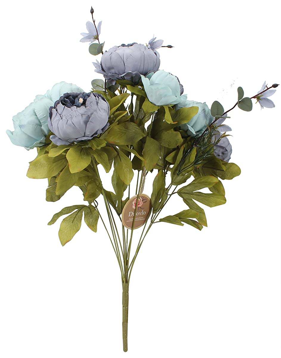 Duovlo Fake Flowers Vintage Artificial Peony Silk Flowers Wedding Home Decoration,Pack of 1 (New Grey Blue)