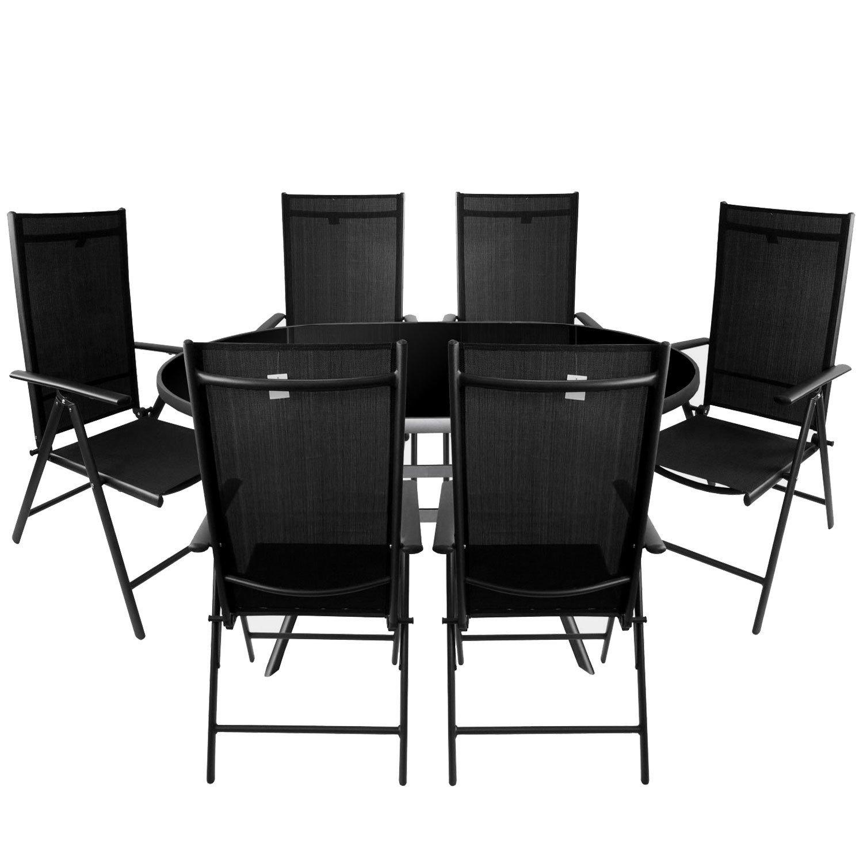 7tlg. Gartengarnitur Aluminium Glastisch 140x90cm mit schwarzer Tischglasplatte + Alu Hochlehner 7-Positionen 2x2 Textilenbespannung Sitzgarnitur Sitzgruppe Anthrazit / Schwarz