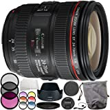 Canon EF 24-70mm f/4L IS USM Lens 10PC Accessory Bundle - Includes Manufacturer Accessories + 3 Piece Filter Kit (UV + CPL + FLD) + MORE (Renewed)