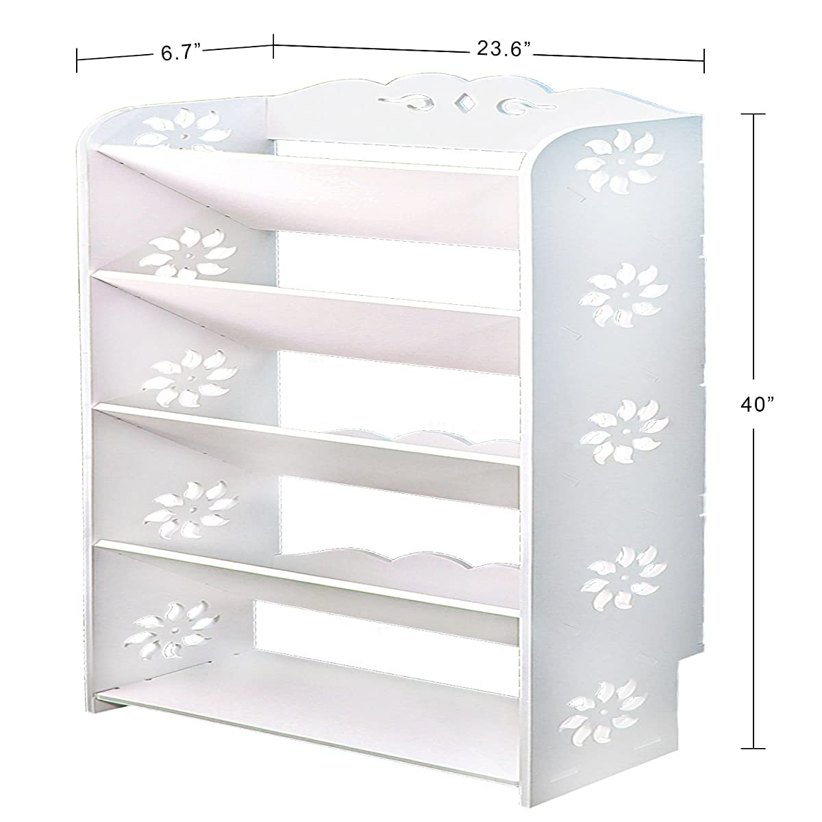 """Met Life - Wood Plastic Composite 5 Tier Shoe Rack L 24"""" x W 6.7"""" x H 40"""" WPC is Anti Decay, Anti Dust, Water Proof, Minimum Maintenance and Eco Friendly 