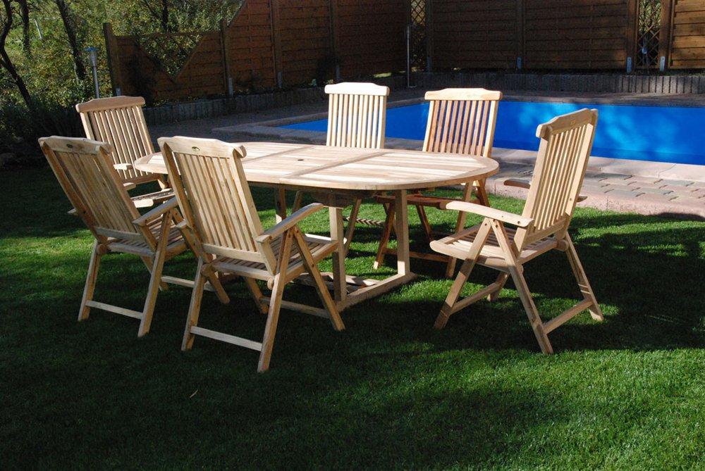 SAM® Teak Holz Gartengruppe Gartenmöbel Aruba 7 teilig, 6 x Hochlehner + 1 x Auszugstisch