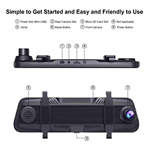 Bir Mirror Dash Cam 10 Inch Touch Screen Sony Front&Rear View Dual Lens for Car Backup with Guideline 1080P HD Waterproof Reverse Camerea Enhanced Night Vision?2 Year Warranty? (Color: Black)