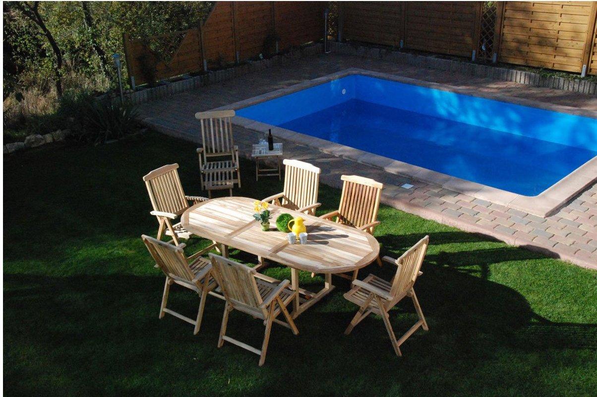 SAM® Gartengruppe Aruba, 9 teilig, Gartenmöbel aus Teak-Holz, 6 x Hochlehner Aruba, 1 x Deckchair Puccon, 1 x Beistelltisch, 1 x Auszieh-Tisch, Terrassen-Möbel aus Holz, Massivholz-Möbel für Terrasse