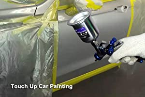 Touch Up 4.2 oz HVLP Air Spray Gun Auto Car Detail Paint Sprayer Spot Repair, with Protective Kits