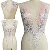 Lace Embroidered Pearl Rhinestone Patches Applique for DIY Fabric Trim Neckline Wedding Bridal Prom Dress Back Decoration (Pink+Gray, One Set) (Color: Pink+gray, Tamaño: One Set)