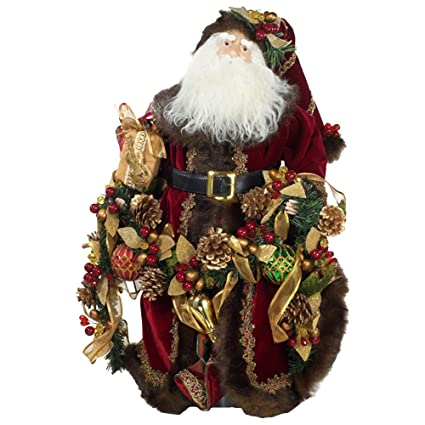 Kurt S. Adler 23-Inch Porcelain Santa  Table Piece with Pinecone, Berry and Beads Christmas Garland | christmastablescapedecor.com