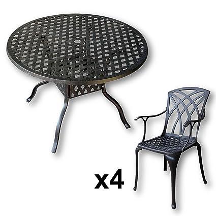 Lazy Susan Furniture - Lisa 106 cm Round 4 Seater Cast Aluminium Garden Set - Antique Bronze (April chairs)