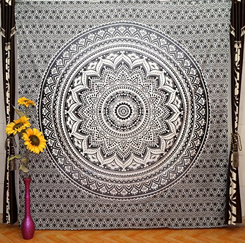 Black-And-White-Ombre-Bedding-Queen-Mandala-Tapestry-Indian-Mandala-Wall-Art-Hippie-Wall-Hanging-Bohemian-Bedspread-94-x-86-inch