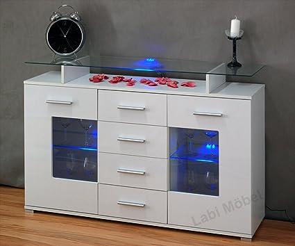 Labi Möbel cómoda de Viva cómoda con LED-iluminación, sin necesidad de un estante de cristal 160 cm de colour blanco de alto brillo