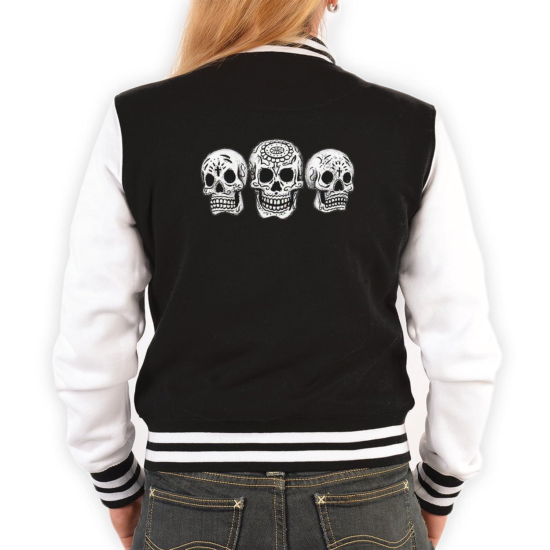 College Damen Jacke Sweatjacke Totenköpfe Rockerbilly Baseball-Jacken Übergangsjacke Damen Jacke Biker Jacke Farbe: schwarz jetzt kaufen