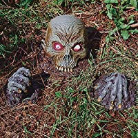 Living Dead Rising Zombie Man Skull And Hands Halloween Yard Decoration from MORRIS COSTUMES