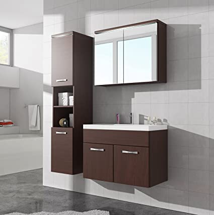 Bathroom cabinet Paso 80cm basin wenge (dark brown) - Storage cabinet vanity unit sink furniture