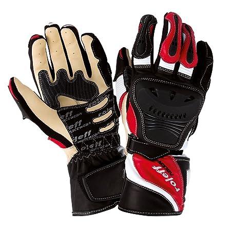 Roleff Racewear 882 Gants en Cuir, Noir/Rouge, Taille : S