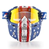 NENKI Motorcycle Goggles Mask NK-1019US For 3/4 Motorcycle helmets And Retro Harley helmet, Detachable Mask, US Flag Style | Patriot Graphic(Irridium Red Lens) (Color: Irridium Red Lens, Tamaño: Large)