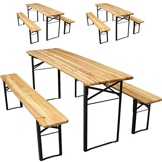 Miadomodo - 3 conjuntos de mesa y bancos de cerveza para jardín ( 3 mesas y 6 bancos )