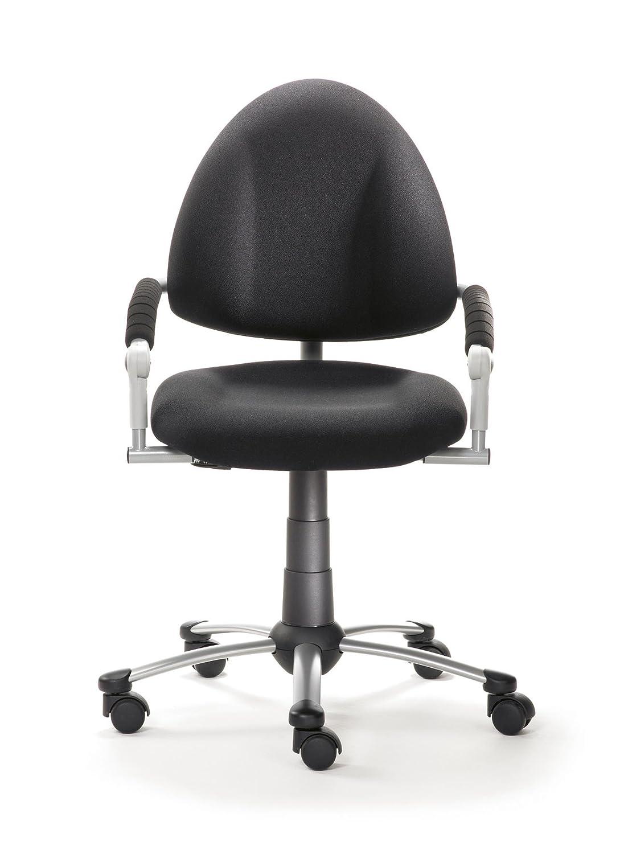 Mayer Sitzmöbel Kinder-Drehstuhl FREAKY mitwachsender Kinder- u. Jugend- Drehstuhl 4-18 Jahren Gestell perlsilber mit Armlehnen Rollen/Teppich Bezug 26189