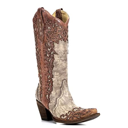 Corral Womens Laser Overlay Fashion Western Boots