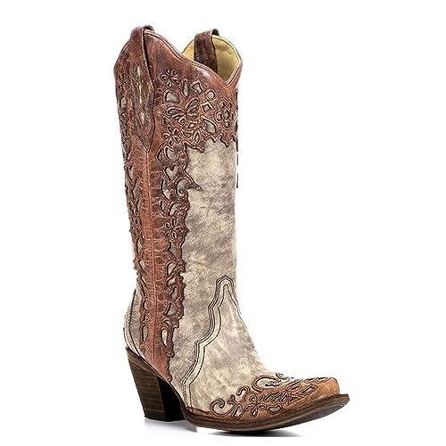 Womens Sand/Cognac Laser Overlay Boot