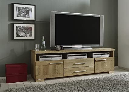Bonito TV-Lowboard mit 2 Turen mit je 1 Einlegeboden, 2 Schubkästen und 1 offenes Fach in Wildeiche teilmassiv