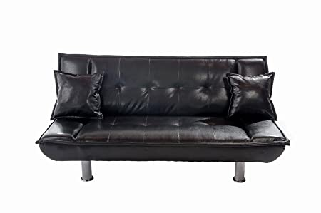 Home Source 18777 Sofa Bed Plus 2 Pillows, 73 by 37 by 34-Inch/73 by 46 by 16-Inch, Black