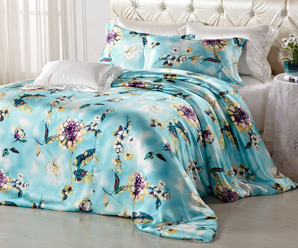 Orifashion Luxury 5 Pieces 100% Silk Charmeuse Bedding Set, Light Blue With Printed Floral Pattern (Model BSSJSL004), California King Size