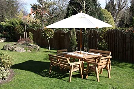 Wooden Garden Furniture / Patio Set 4ft-6 Table, 2 Benches, 2 Chairs Solid Wood