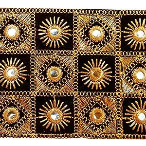 espejo negro tela bordada de artesanía de corte 8,8 cm de ancho encaje por el patio marca indianbeautifulart