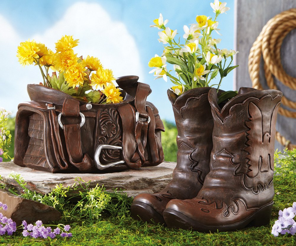 saddle and boots planters