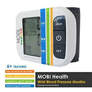 MOBI Health Automatic Wrist Blood Pressure Monitor - Detects Irregular Heartbeat - Monitors Pulse Rate - Fast Accurate Readings, Wrist Blood Pressure Monitor, Blood Pressure Cuff Monitor (Tamaño: Wrist Blood Pressure Monitor)