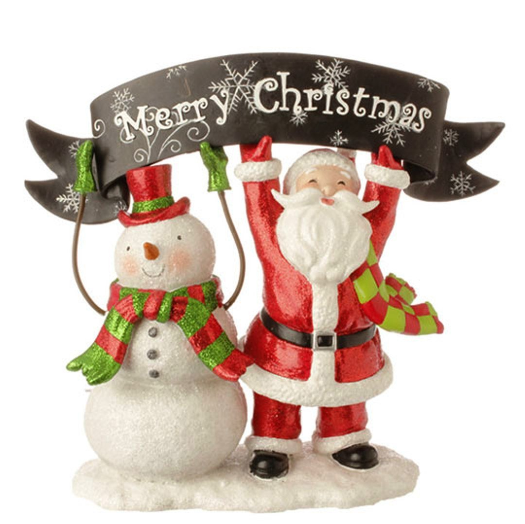 Merry Christmas Santa and Snowman Christmas Figurine Decoration