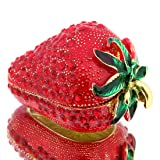 YUFENG Hinged Trinket Box For Girls, Handmade Red Strawberry Trinket Boxes Decorated for Women (red strawberry)
