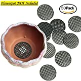 Chris.W 50Pcs Flower Pot Hole Mesh Pad - 4.5cm Diameter Bottom Grid Mat - Prevent Soil Loss Anti-corrosion Breathable Gasket - Drainage Netting for Bonsai (Color: 50Pack, Tamaño: 4.5cm)