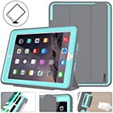iPad 5th Generation Case, New iPad 9.7 Inch 2017 Case Smart Magnetic Auto Sleep / Wake Cover Hybrid Leather with Stand Feature for Apple New iPad 2017 Release Model (Gray/Skyblue)