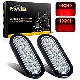 Partsam 2x Oval Brake Stop Tail Turn Sealed Marker Lights Flush Mount 6