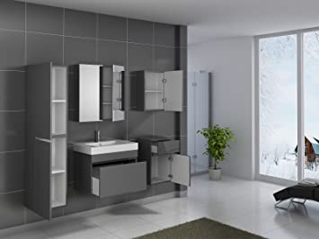 sam badm bel parma set 5tlg 70 cm in grau hochglanz mit softclosefunktion 1 x waschplatz 1 x. Black Bedroom Furniture Sets. Home Design Ideas